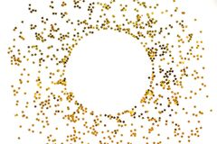 Circle from gold stars on white background. royalty free stock image