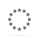 The circle of gold stars on a white background. Vector illustration in flat style Stock Photos