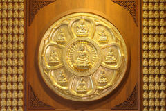 The circle of golden buddha Stock Photos