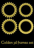 Circle golden frame set with 3d effect, gorgeous luxury metallic frames. Vector EPS 10 Royalty Free Illustration