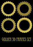 Circle golden frame set with 3d effect, gorgeous luxury metallic frames. Vector EPS 10 Vector Illustration