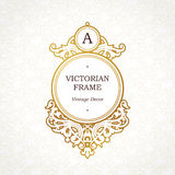 Circle  golden frame in Victorian style. Ornate element for design. Place for company name and slogan. Ornament floral vignette for business card, wedding Stock Photography