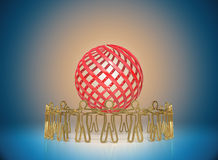 Circle of golden people standing around the globe, joining toget Royalty Free Stock Photos