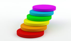 Circle graph - diagram - Steps. Colorful graph like steps on white stock illustration