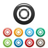 Circle graph icons set collection circle. Circle graph icons set in simple style many color circle isolated on white background Royalty Free Stock Photo