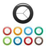 Circle graph icons set collection circle. Circle graph icons set in simple style many color circle isolated on white background Royalty Free Stock Photos