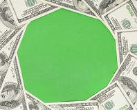 Circle green background framed with money Stock Photography