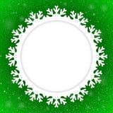 Circle Green Background New Year. Snow. Snowflake. Stock Photo