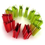 Circle of green and red shopping bags Royalty Free Stock Image