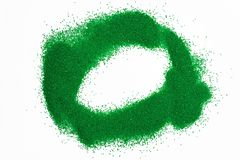 Circle of green sand poured isolated on white background. Circle of green sand poured isolated on white stock photos