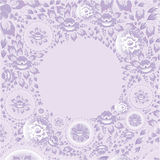 Circle greeting card with violet flowers. Vector Royalty Free Stock Photo