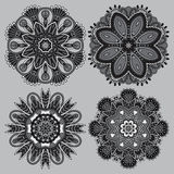 Circle grey lace ornament, round ornamental Royalty Free Stock Images