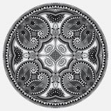 Circle grey lace ornament, round ornamental Stock Photos
