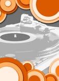 circle grey orange turntable Στοκ Φωτογραφίες