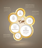 Circle group metallic with icons Royalty Free Stock Photography