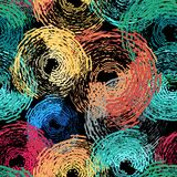 Circle grunge seamless pattern Stock Photos
