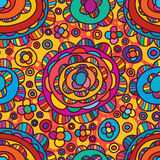 Circle half circle style seamless pattern. This illustration is drawing and design line of circle and half circle in colorful and orange color background with Stock Photo