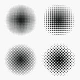 Circle halftone effects set. Monochrome dots semitone stock illustration