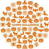 Circle with Halloween icons. Stock Photography
