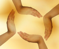 Circle hand. Hand on yellow background group stock photo