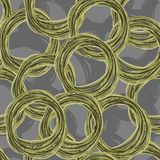 Circle hand drawing seamless pattern. Retro fabric ornament.  Stock Images