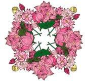 Circle hand drawn lotus flower Stock Images