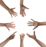 Circle of hands. Seven hands forming a almost complete circle, one hand is missing Royalty Free Stock Photos
