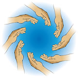 Circle of Hands. An illustration of hands making a circle shape Stock Photography