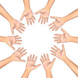 Circle of hands Stock Photography
