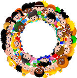 Circle of happy children of different races Stock Photo