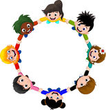 Circle of happy children of different races Stock Images