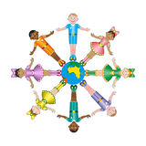 Circle of happy children different races. Multicultural children on planet earth, cultural diversity, traditional folk costumes Royalty Free Stock Images