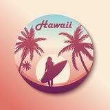 Circle Hawaii Sticker. Surfing girl. With shadow. Vector stock illustration