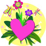 Circle of Heart, Flower Garden, and Bugs Royalty Free Stock Image
