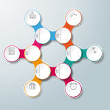 Circle Hexagon Molecule Chain 6 Options. Infographic design with colored and white circles on the grey background. Eps 10 file Stock Illustration