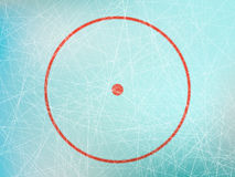 Circle on hockey rink. Vector illustration of red circle on ice skating rink from above Stock Photos
