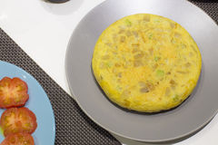 Circle home made Spanish omelette Royalty Free Stock Photo