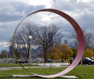 Circle of Hope. This is a late Fall picture of a piece of public art dedicated to survivors of Breast Cancer,  it is located at Diversey Harbor in Lincoln Park Royalty Free Stock Image