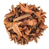 Circle of Hot Wine Spices Isolated on White Background Royalty Free Stock Photos
