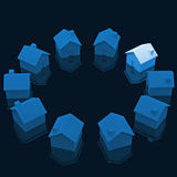 Circle of house. Fine image 3d of models houses in circle Royalty Free Stock Images