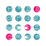 Circle household icons. Circle household appliances icons; blue and pink Royalty Free Stock Photography