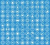Circle icon set, blue. Circle icon set, simple white image on blue background Stock Photo
