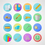 Circle icons for linoleum flooring service. Set of colored circle flat icons with symbols for linoleum flooring service on gray background vector illustration