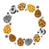 Circle illustration of animal patterns easter eggs set vector illustration