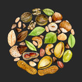 Circle illustration of watercolor nuts. Hand drawn isolated on a dark background Stock Photo