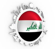 Circle with industry relative silhouettes. Objects located around the circle. Industrial design background. Flag of the Iraq in the center. 3D rendering vector illustration