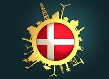 Circle with industry relative silhouettes. Denmark flag Stock Photo