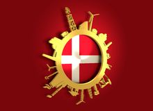 Circle with industry relative silhouettes. Denmark flag Stock Photography