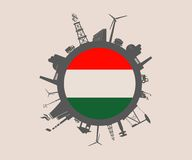 Circle with industry relative silhouettes. Hungary flag Royalty Free Stock Photography