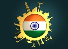Circle with industry relative silhouettes. India flag Stock Photos